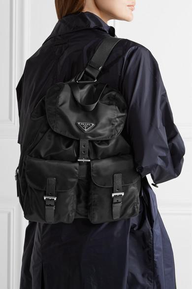 a668ac6c34b467 Prada | Vela large leather-trimmed shell backpack | NET-A-PORTER.COM