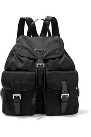 Prada Vela large leather-trimmed shell backpack