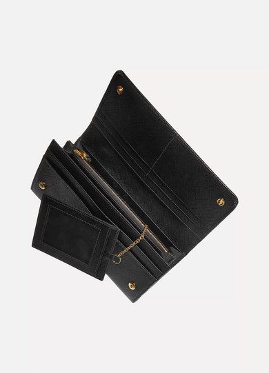 PRADA TEXTURED-LEATHER CONTINENTAL WALLET, BLACK