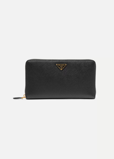 Travel Textured-leather Continental Wallet - Black Prada IikN38WP5y
