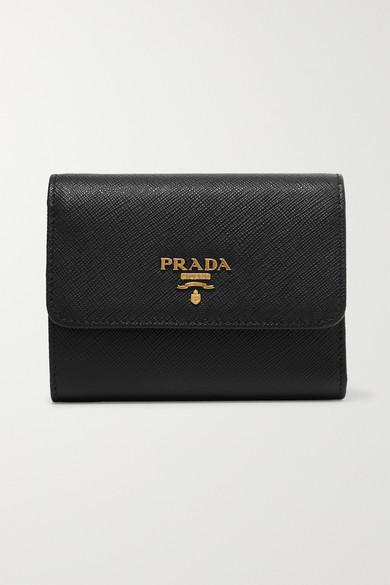 Travel Textured-leather Continental Wallet - Black Prada Yiy1xL