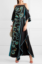 Peter Pilotto Cold-shoulder embroidered cady gown
