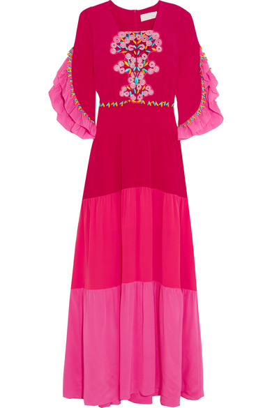 Peter Pilotto - Lace-paneled Tiered Silk Gown - Fuchsia