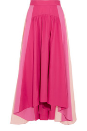 Asymmetric color-block cotton-poplin midi skirt