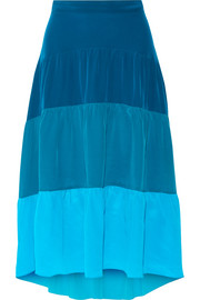 Tiered color-block silk crepe de chine skirt