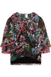 Peter Pilotto Ruffled printed silk-georgette top