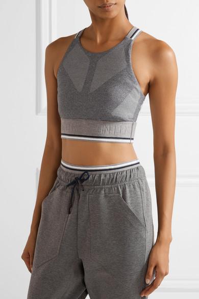 Glide mesh-trimmed stretch-knit sports bra