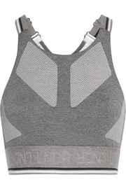 Glide mesh-trimmed stretch-knit sports bra