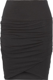 Ruched stretch-cotton jersey mini skirt