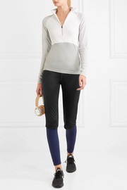 Windproof paneled stretch-jersey leggings
