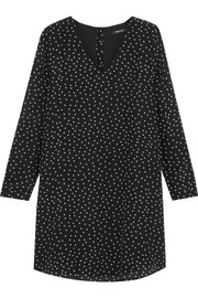 Star-print silk crepe de chine mini dress