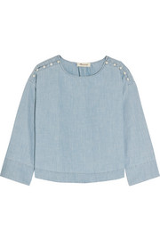 Madewell Button-detailed cotton-chambray top