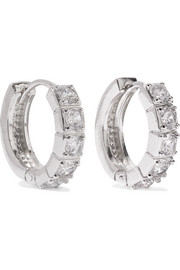 Kenneth Jay Lane Rhodium-plated cubic zirconia hoop earrings