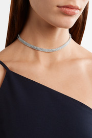 Kenneth Jay Lane Rhodium-plated cubic zirconia choker