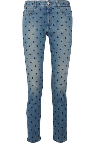 Stella McCartney - The Skinny Embroidered Boyfriend Jeans - Light denim