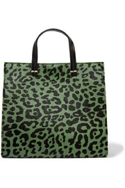 Clare V. Petit leopard-print calf hair and leather tote