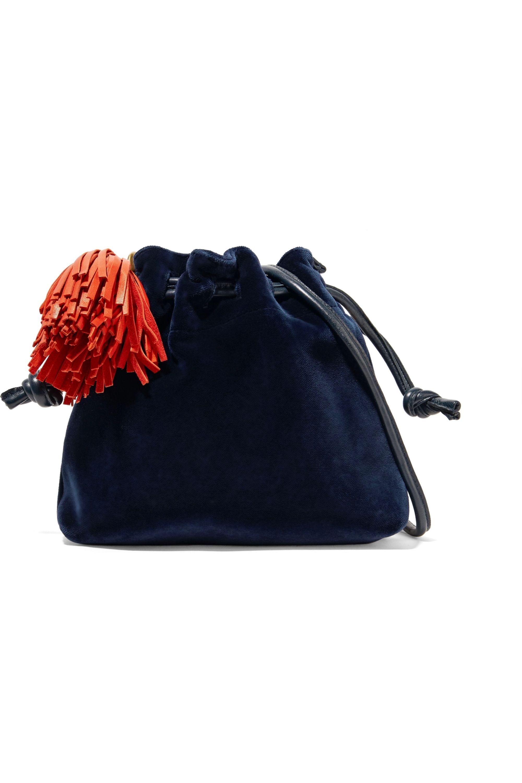 Clare V. Henri small leather-trimmed velvet bucket bag