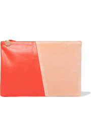 Two-tone velvet and leather clutch