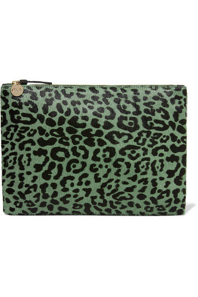Clare V. - Leopard-print Calf Hair Clutch - Green