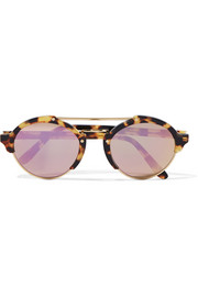 Illesteva Milan II round-frame acetate and gold-tone mirrored sunglasses