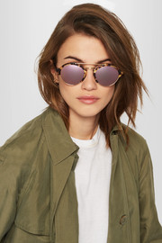 Milan II round-frame acetate and gold-tone mirrored sunglasses