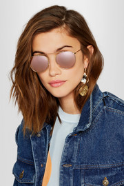 Illesteva Mykonos aviator-style gold-tone mirrored sunglasses