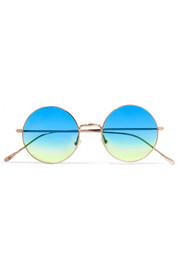 Porto Cervo oversized round-frame gold-tone mirrored sunglasses