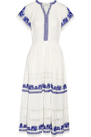 Crochet-trimmed embroidered cotton-gauze midi dress