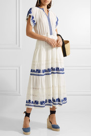 SEA Crochet-trimmed embroidered cotton-gauze midi dress