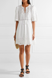 Crochet and tulle-trimmed cotton-poplin mini dress