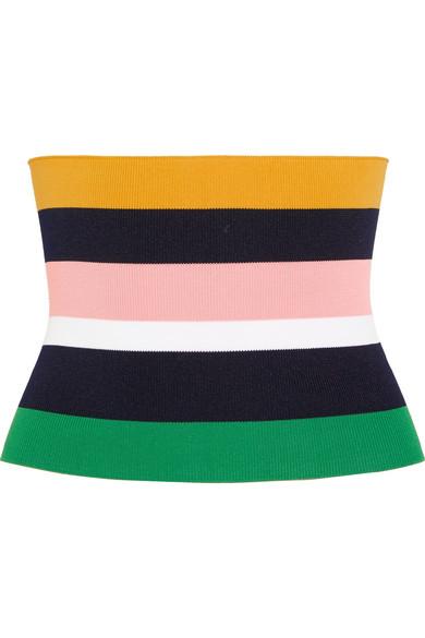 Tibi - Striped Stretch-knit Corset - Black