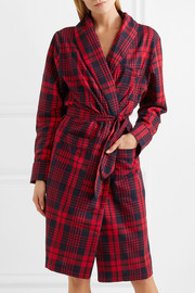 Checked cotton-flannel robe