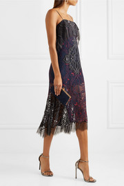 Embroidered lace midi dress