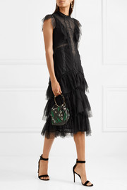 Tiered ruffled lace dress