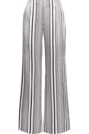 Jonathan Simkhai Striped silk-satin wide-leg pants