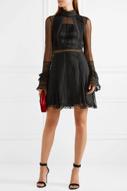 Crochet-trimmed tulle and lace mini dress