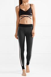 Kuna velvet-trimmed color-block stretch leggings