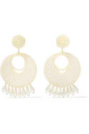 Kenneth Jay Lane Faux pearl beaded earrings