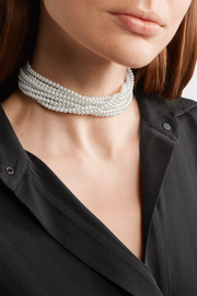 Kenneth Jay Lane Rhodium-plated, faux pearl and crystal necklace