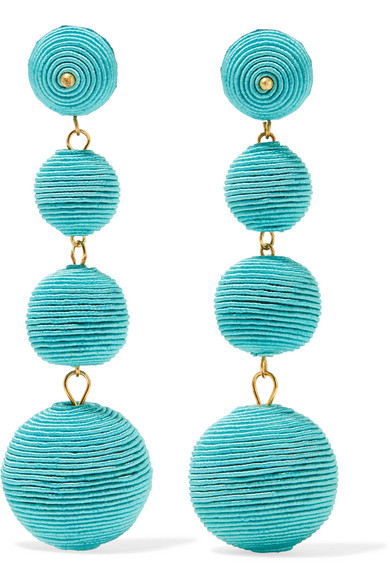 Kenneth Jay Lane - Gold-plated Cord Earrings - Turquoise