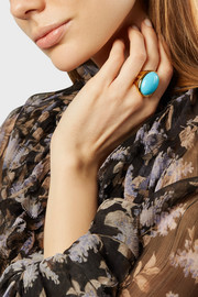 Kenneth Jay Lane Gold-plated turquoise ring