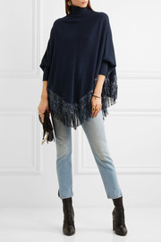 Leather-fringed cashmere poncho