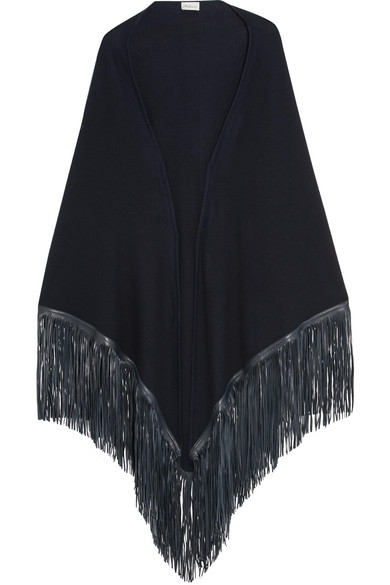 Babjades - Leather-fringed Cashmere Wrap - Navy