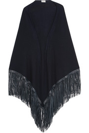 Leather-fringed cashmere wrap