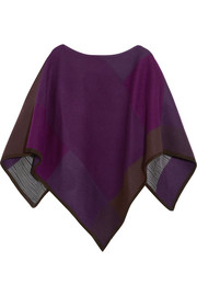 Suede-trimmed wool-blend poncho