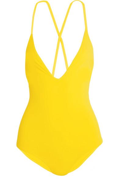 Emma Pake - Antonia Lace-up Swimsuit - Bright yellow