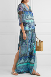 Matthew Williamson Pompom-trimmed printed silk-chiffon coverup