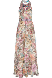 Matthew Williamson Kantuta Valley beaded silk-chiffon halterneck maxi dress