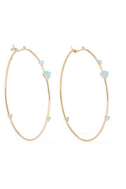 Wwake 14-karat gold, opal and diamond earrings