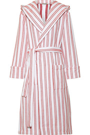 Hooded belted striped cotton coat